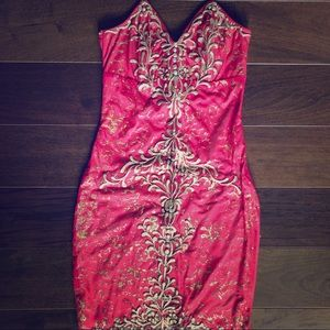 Holt Miami Red with Gold Strapless Mini Dress
